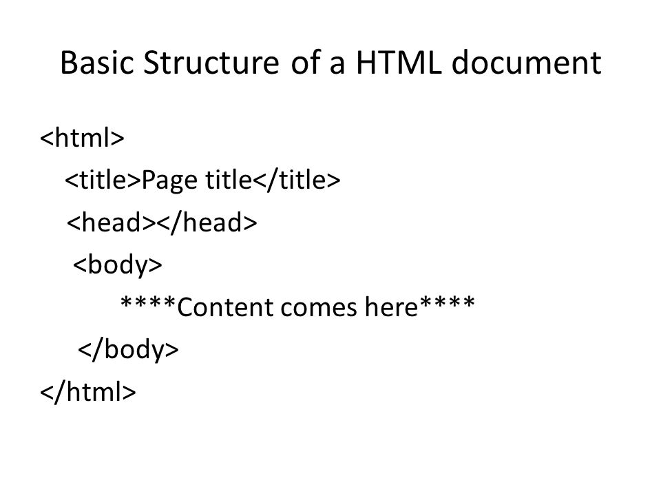 Basic Structure of a HTML document