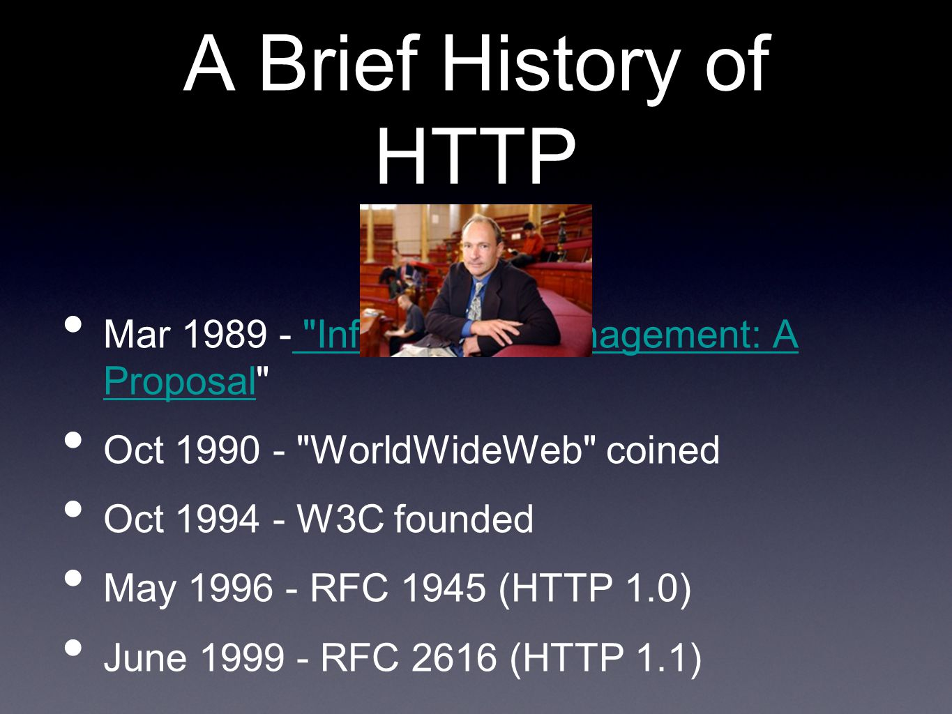 A Brief History of HTTP Mar 1989 - Information Management: A Proposal Oct 1990 - WorldWideWeb coined.