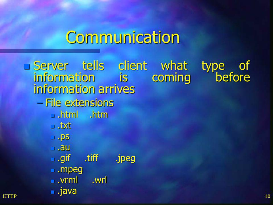Communication Server tells client what type of information is coming before information arrives. File extensions.
