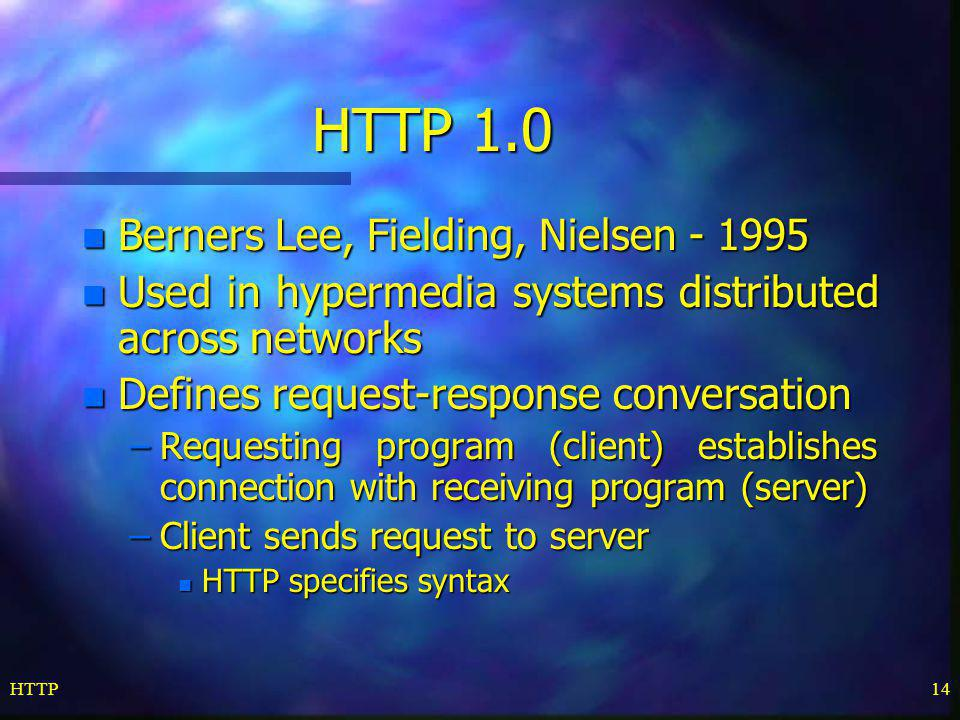 HTTP 1.0 Berners Lee, Fielding, Nielsen