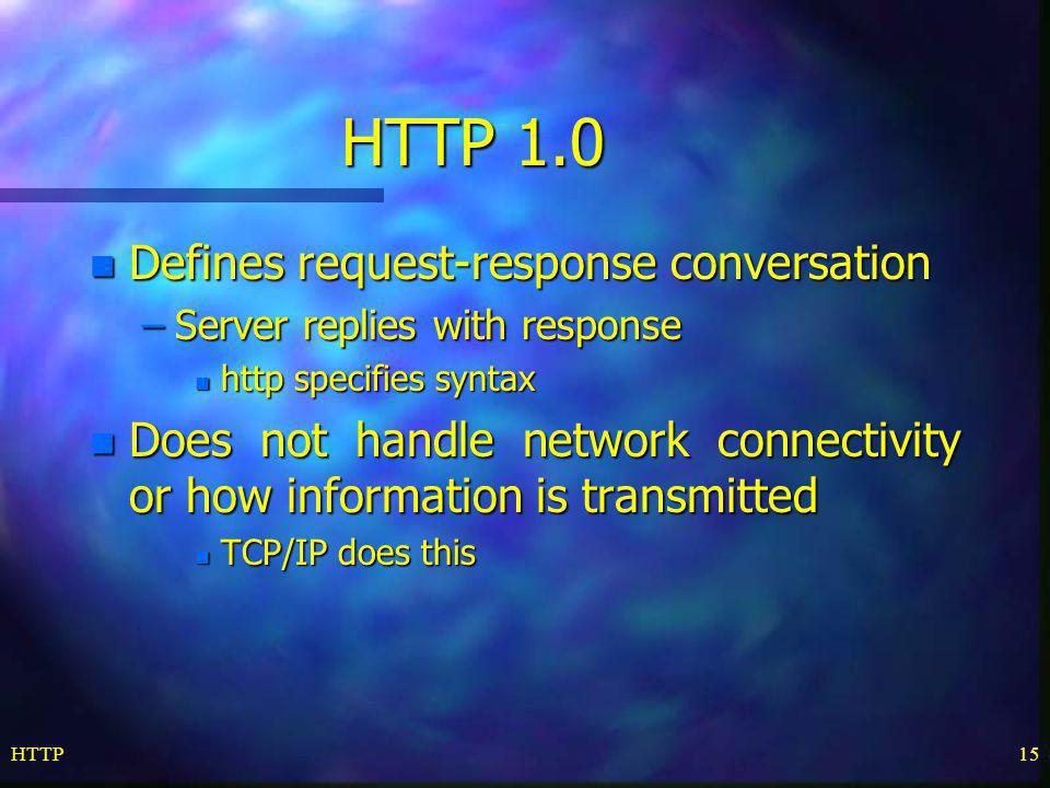 HTTP 1.0 Defines request-response conversation