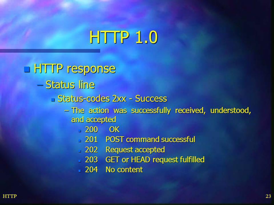 HTTP 1.0 HTTP response Status line Status-codes 2xx - Success