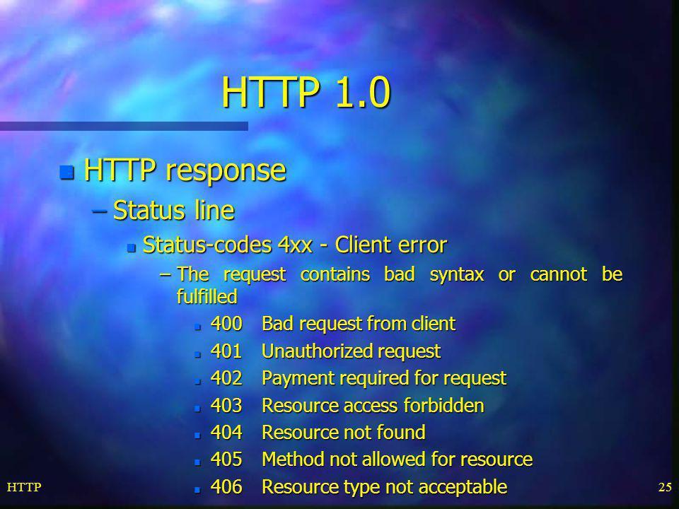 HTTP 1.0 HTTP response Status line Status-codes 4xx - Client error
