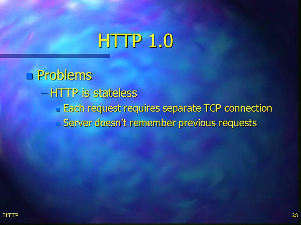 HTTP 1.0 Problems HTTP is stateless