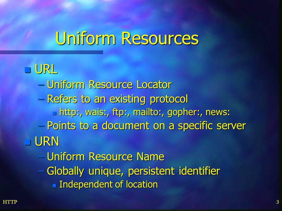 Uniform Resources URL URN Uniform Resource Locator
