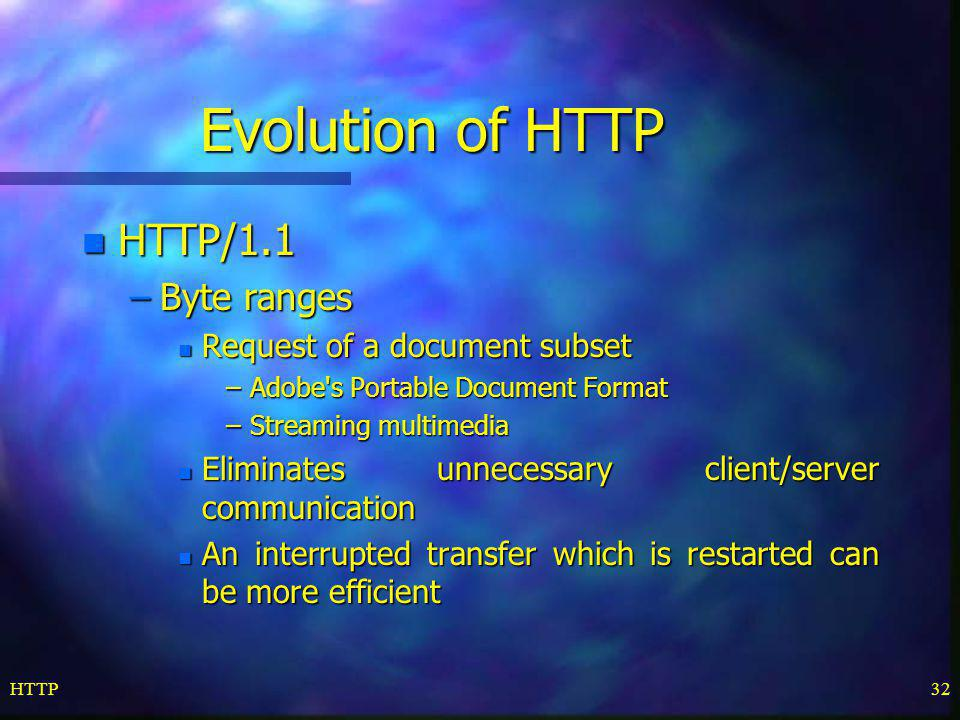 Evolution of HTTP HTTP/1.1 Byte ranges Request of a document subset