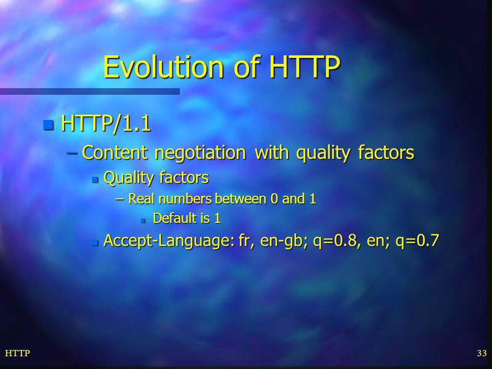 Evolution of HTTP HTTP/1.1 Content negotiation with quality factors