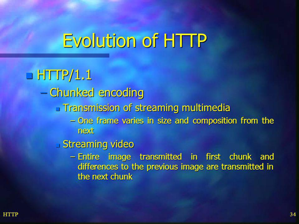 Evolution of HTTP HTTP/1.1 Chunked encoding