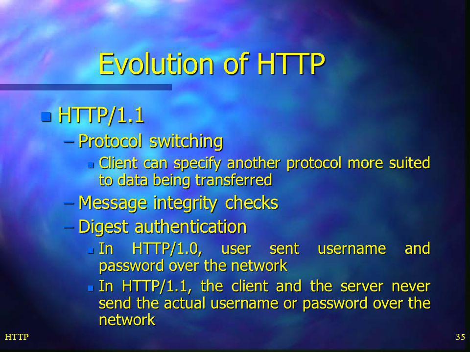 Evolution of HTTP HTTP/1.1 Protocol switching Message integrity checks