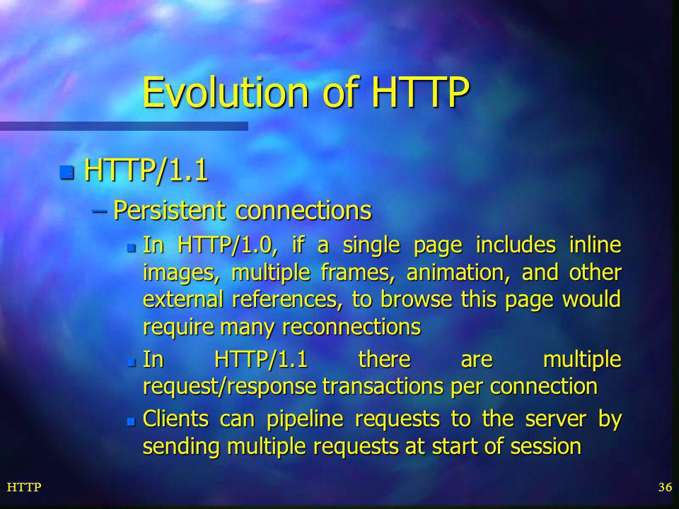 Evolution of HTTP HTTP/1.1 Persistent connections