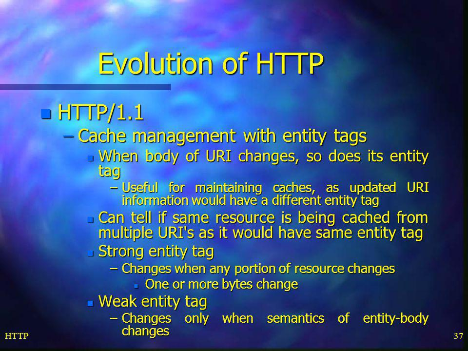 Evolution of HTTP HTTP/1.1 Cache management with entity tags