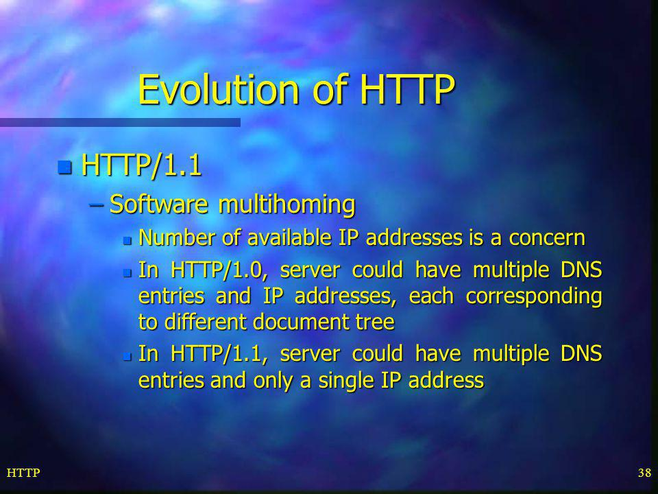 Evolution of HTTP HTTP/1.1 Software multihoming