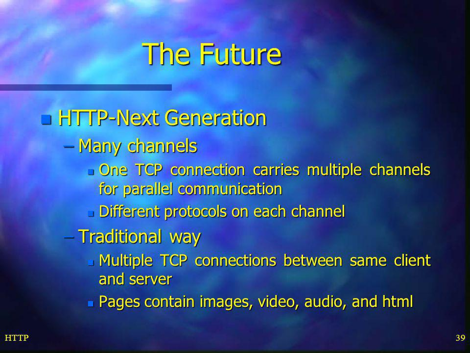 The Future HTTP-Next Generation Many channels Traditional way