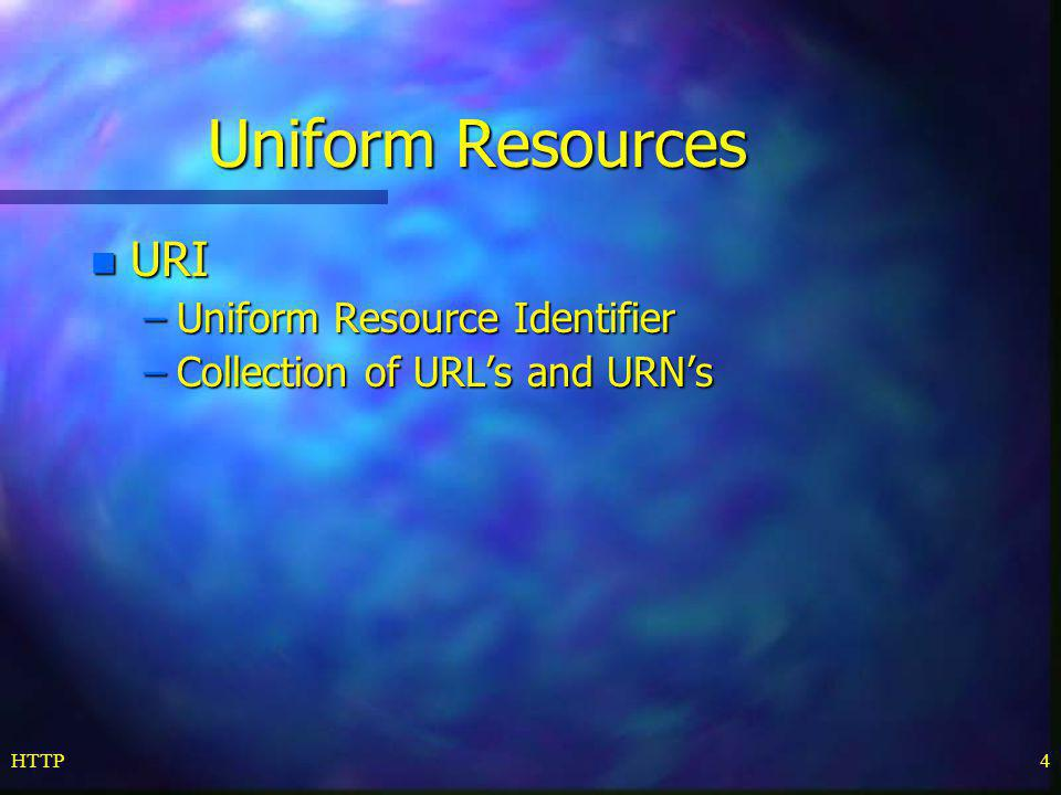 Uniform Resources URI Uniform Resource Identifier