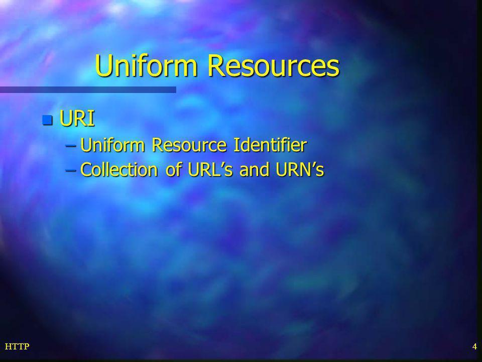 Uniform Resources URI Uniform Resource Identifier