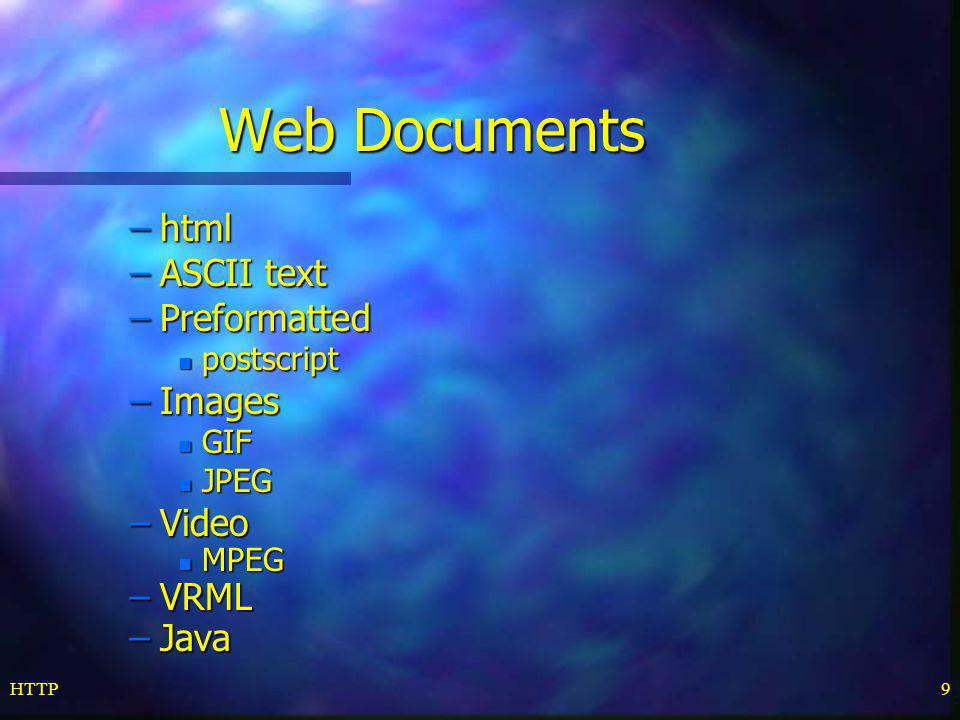 Web Documents html ASCII text Preformatted Images Video VRML Java