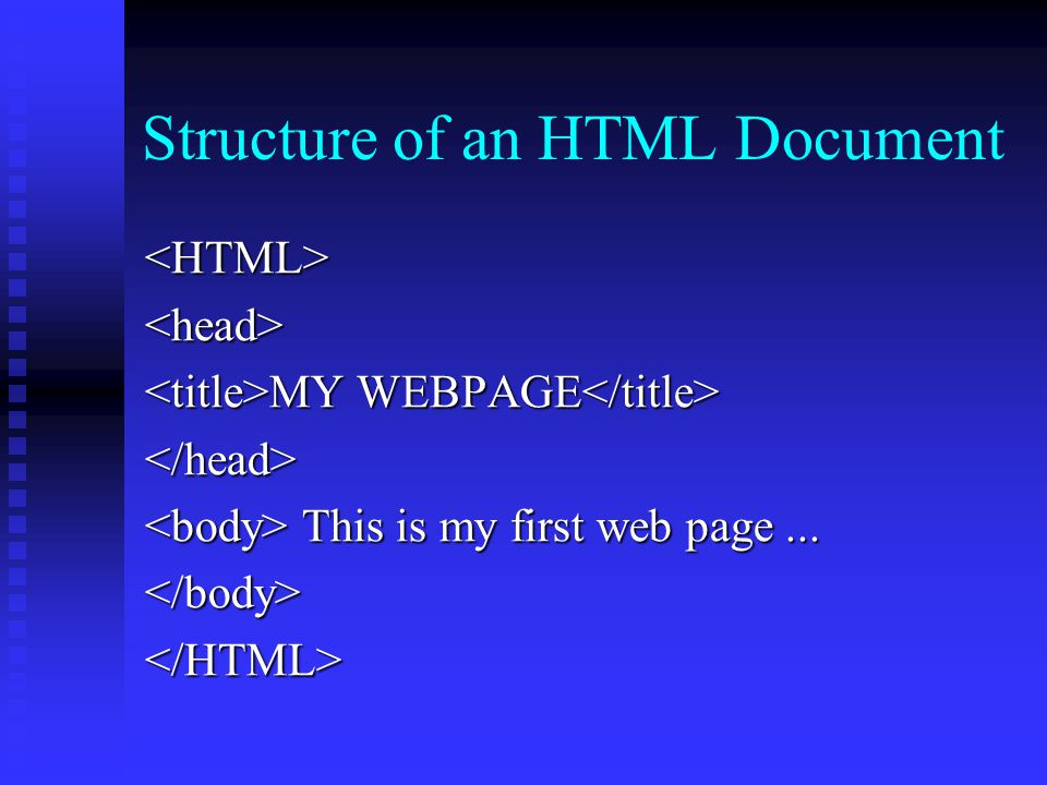 Structure of an HTML Document