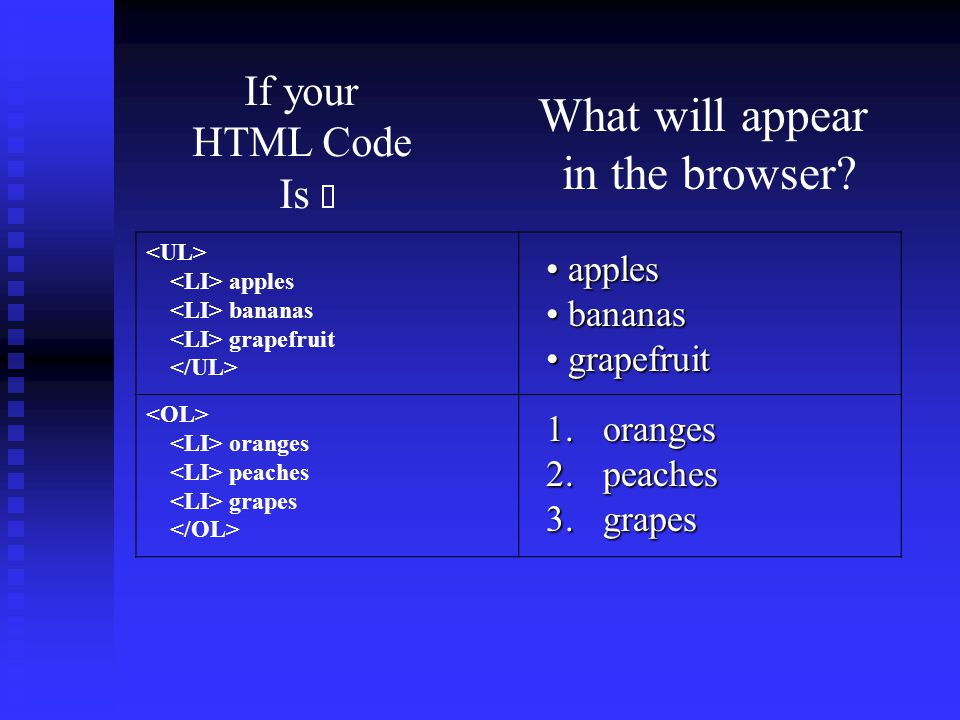 What will appear in the browser