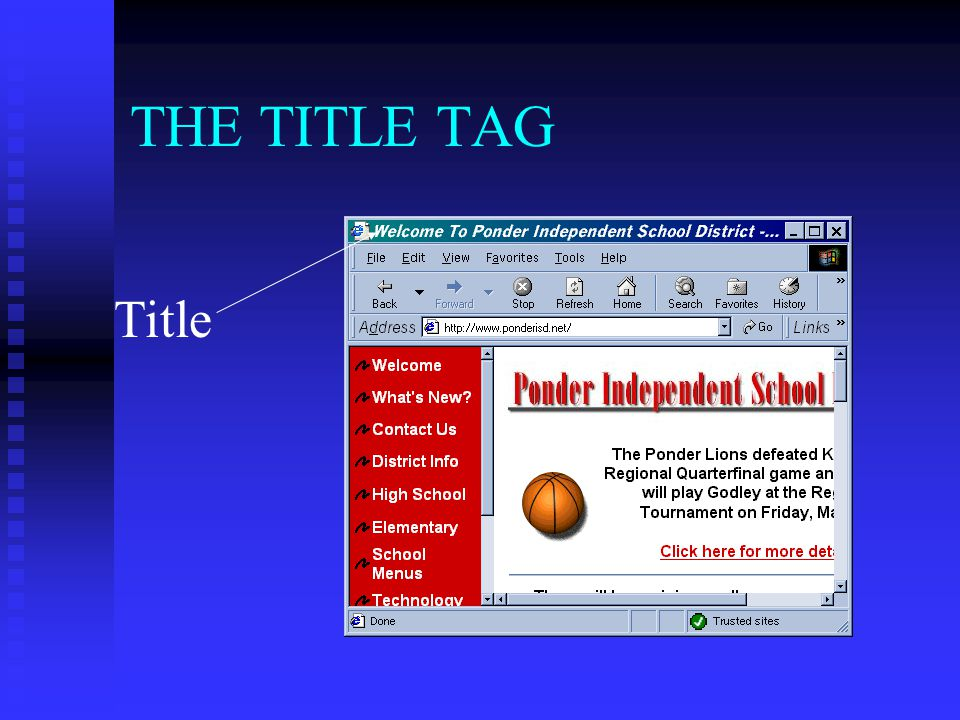 THE TITLE TAG Title