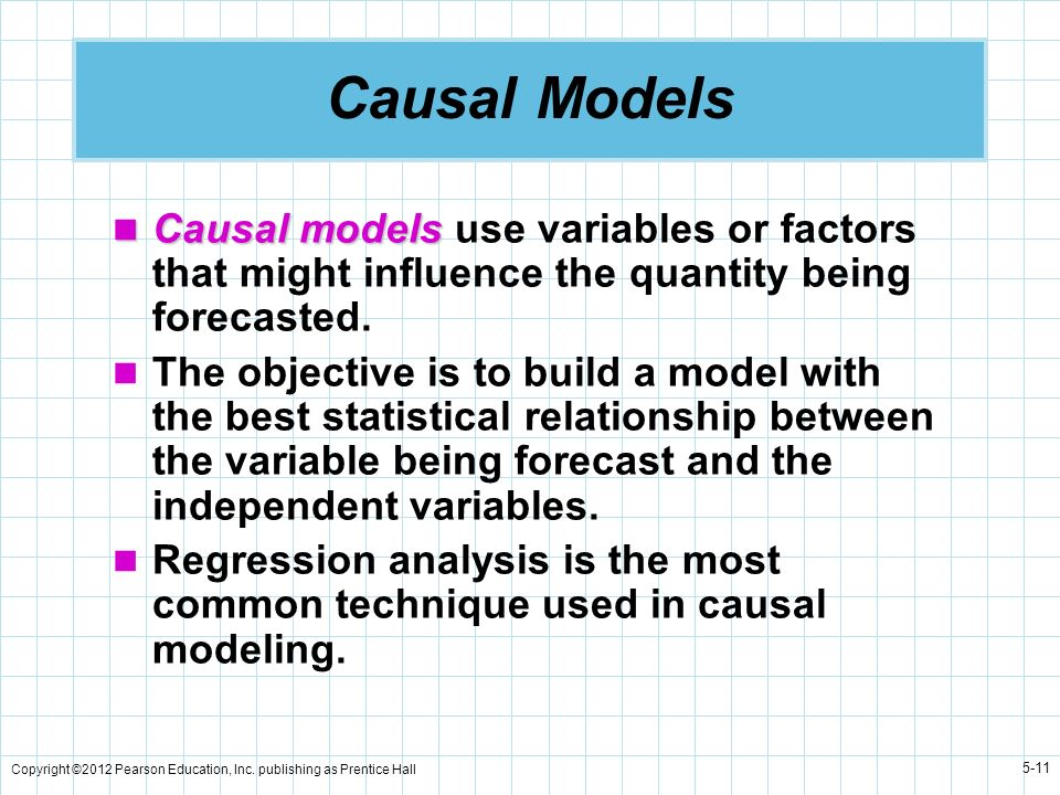 Causal Models Causal models use variables or factors that might influence the quantity being forecasted.