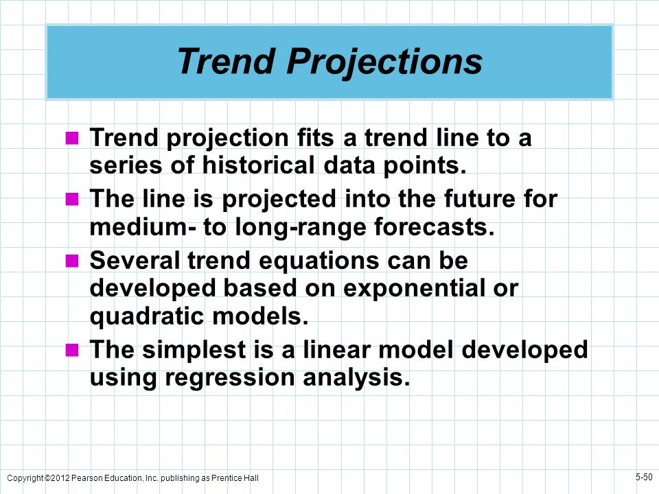 Trend Projections Trend projection fits a trend line to a series of historical data points.