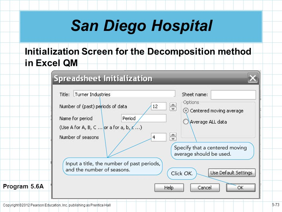 San Diego Hospital Initialization Screen for the Decomposition method in Excel QM. Program 5.6A.