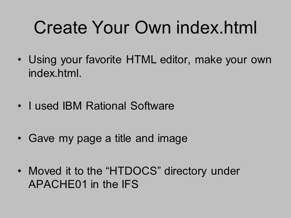 Create Your Own index.html