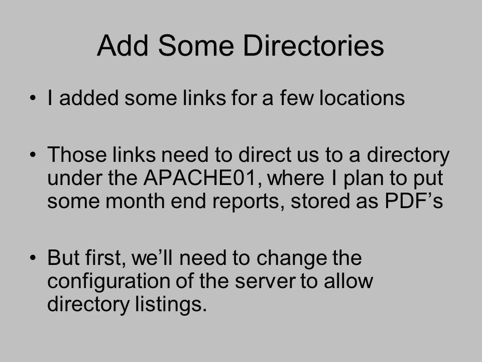 Add Some Directories I added some links for a few locations