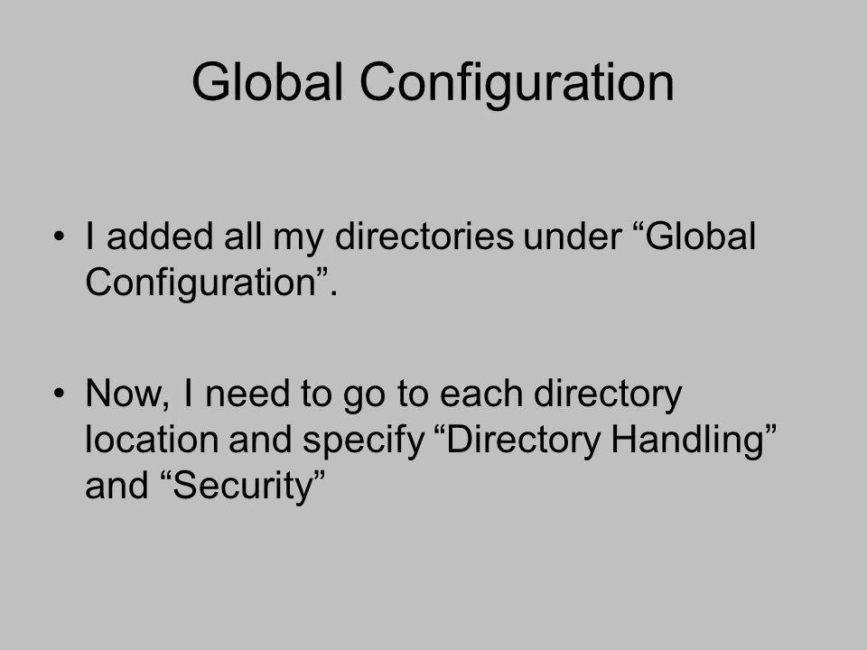 Global Configuration I added all my directories under Global Configuration .