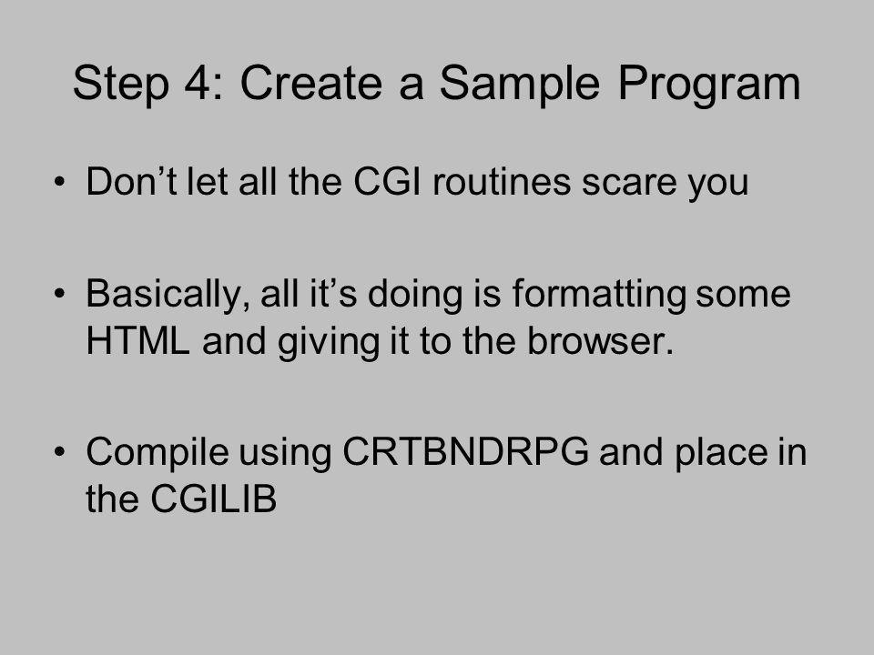 Step 4: Create a Sample Program