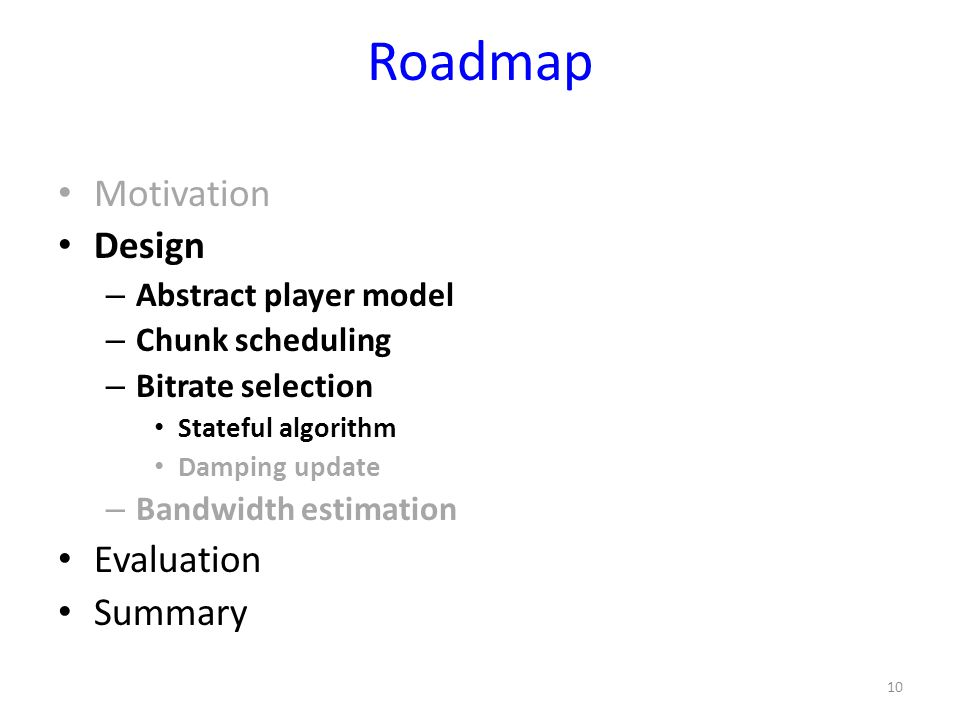 Roadmap Motivation Design Evaluation Summary Abstract player model