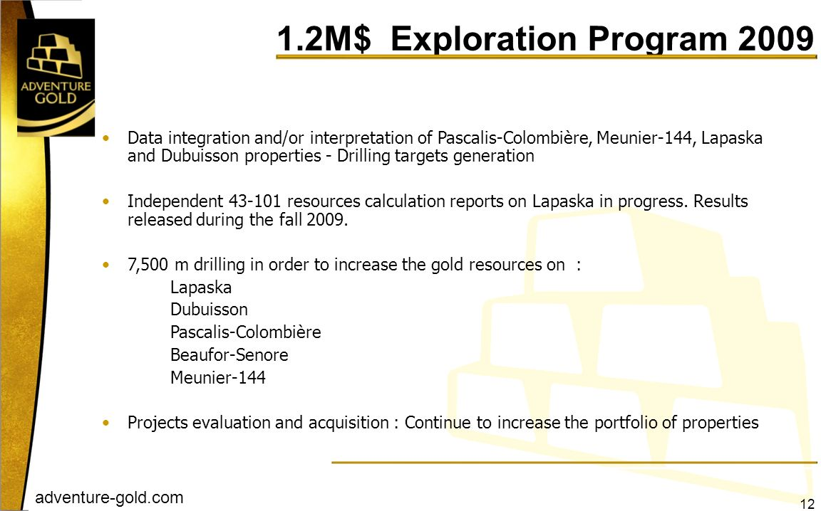 1.2M$ Exploration Program 2009