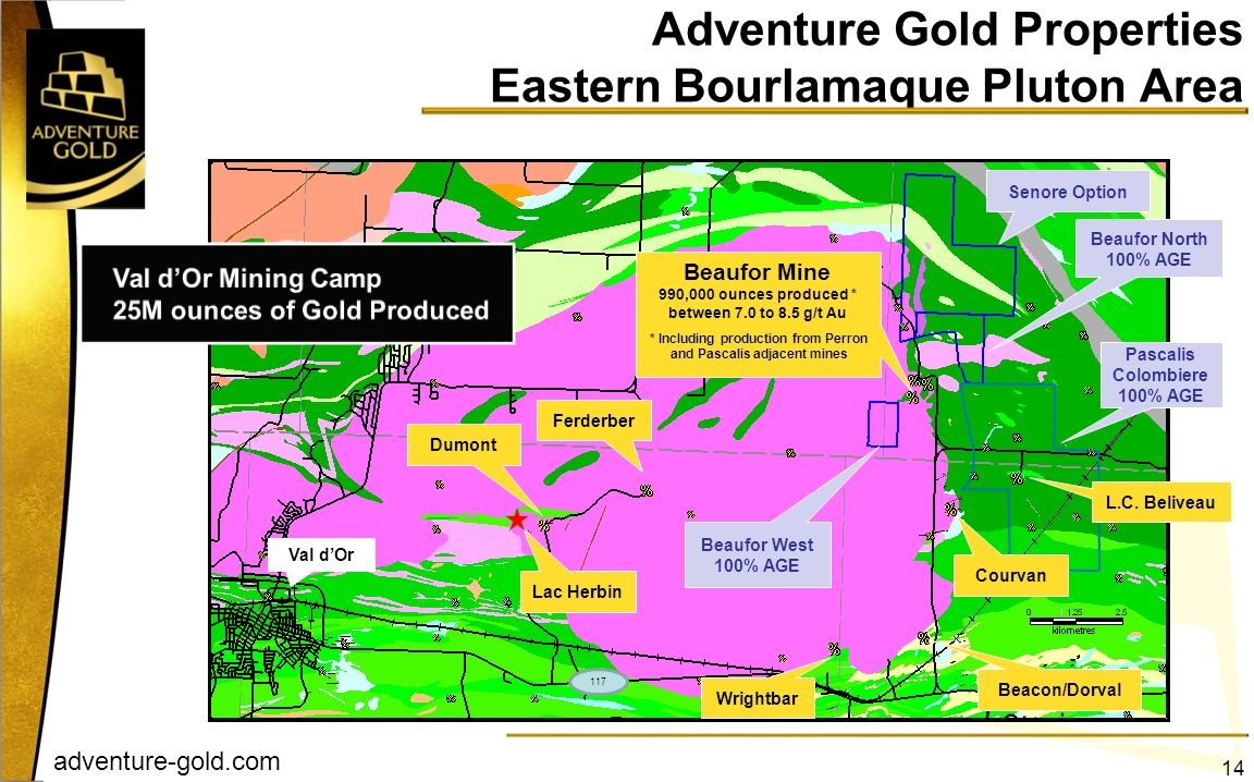 Adventure Gold Properties Eastern Bourlamaque Pluton Area