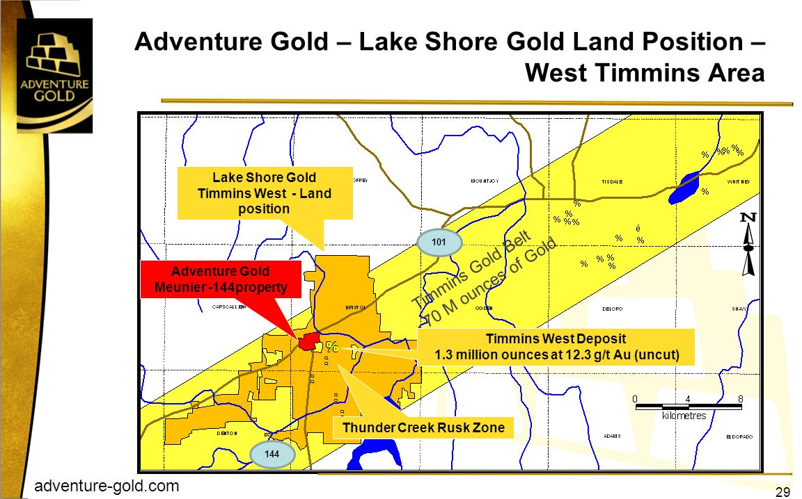 Adventure Gold – Lake Shore Gold Land Position – West Timmins Area