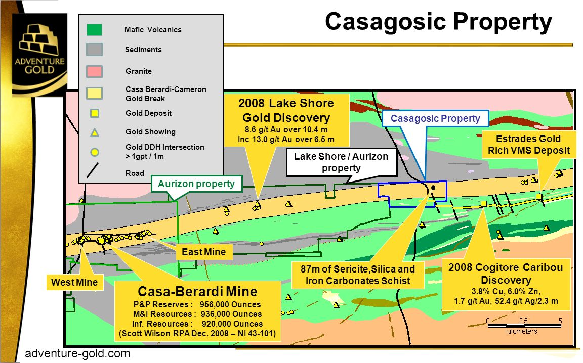 Casagosic Property Casa-Berardi Mine 2008 Lake Shore Gold Discovery