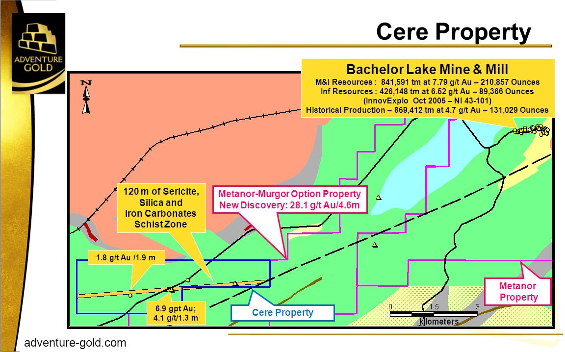 Cere Property Bachelor Lake Mine & Mill 120 m of Sericite, Silica and