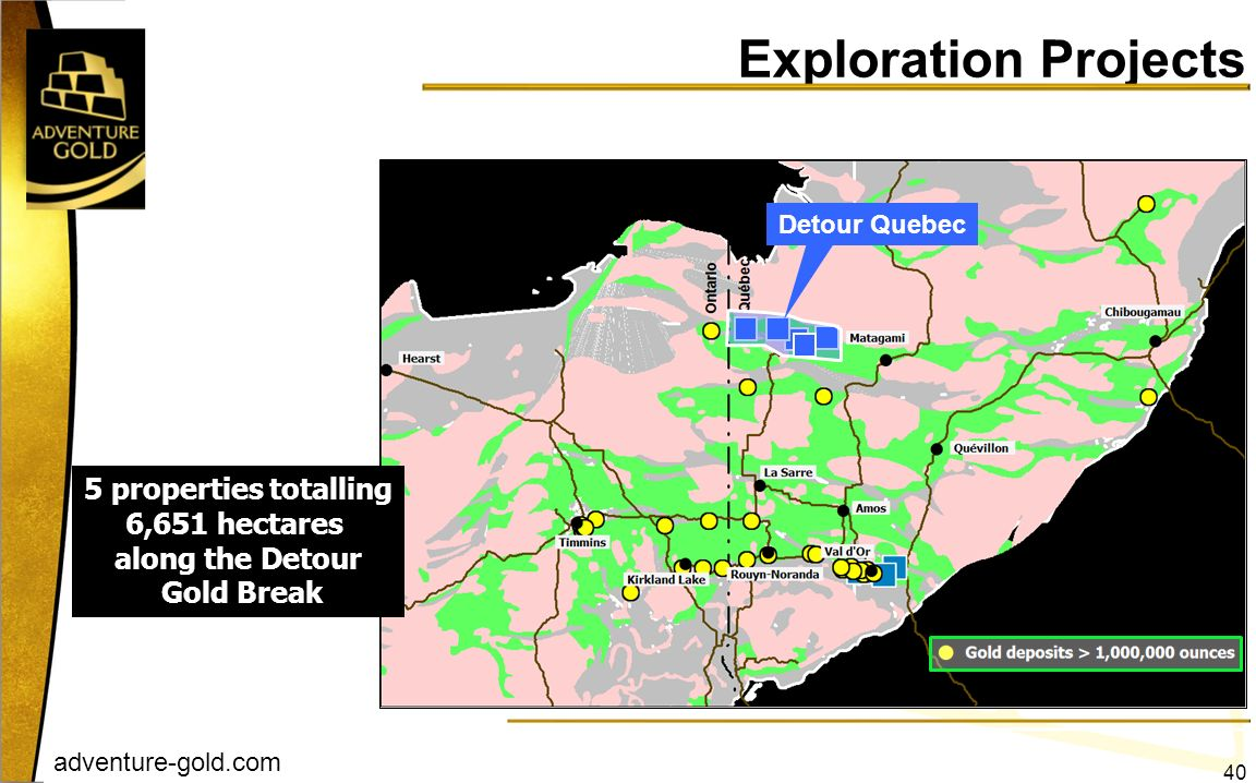 Exploration Projects 5 properties totalling 6,651 hectares