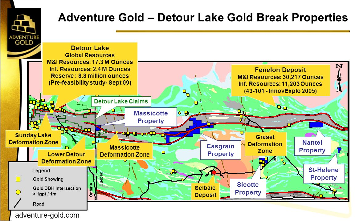 Adventure Gold – Detour Lake Gold Break Properties