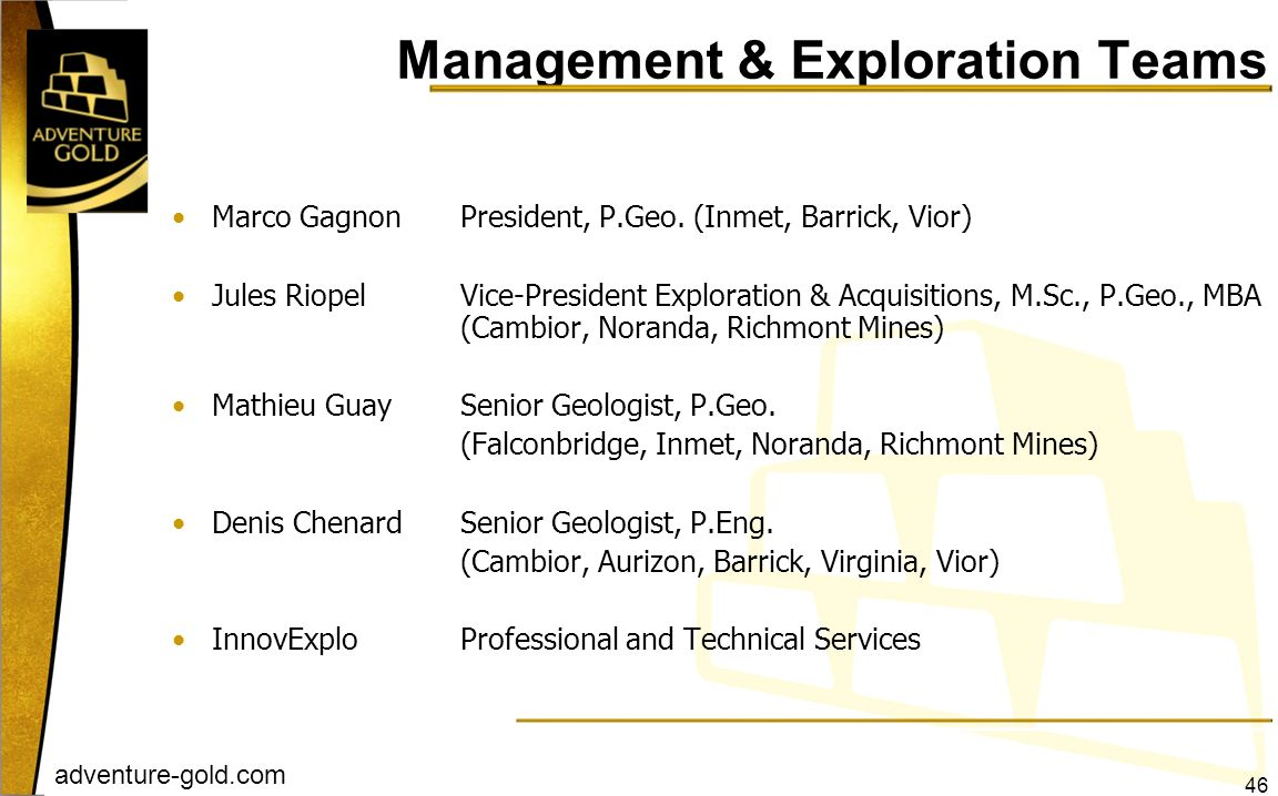 Management & Exploration Teams