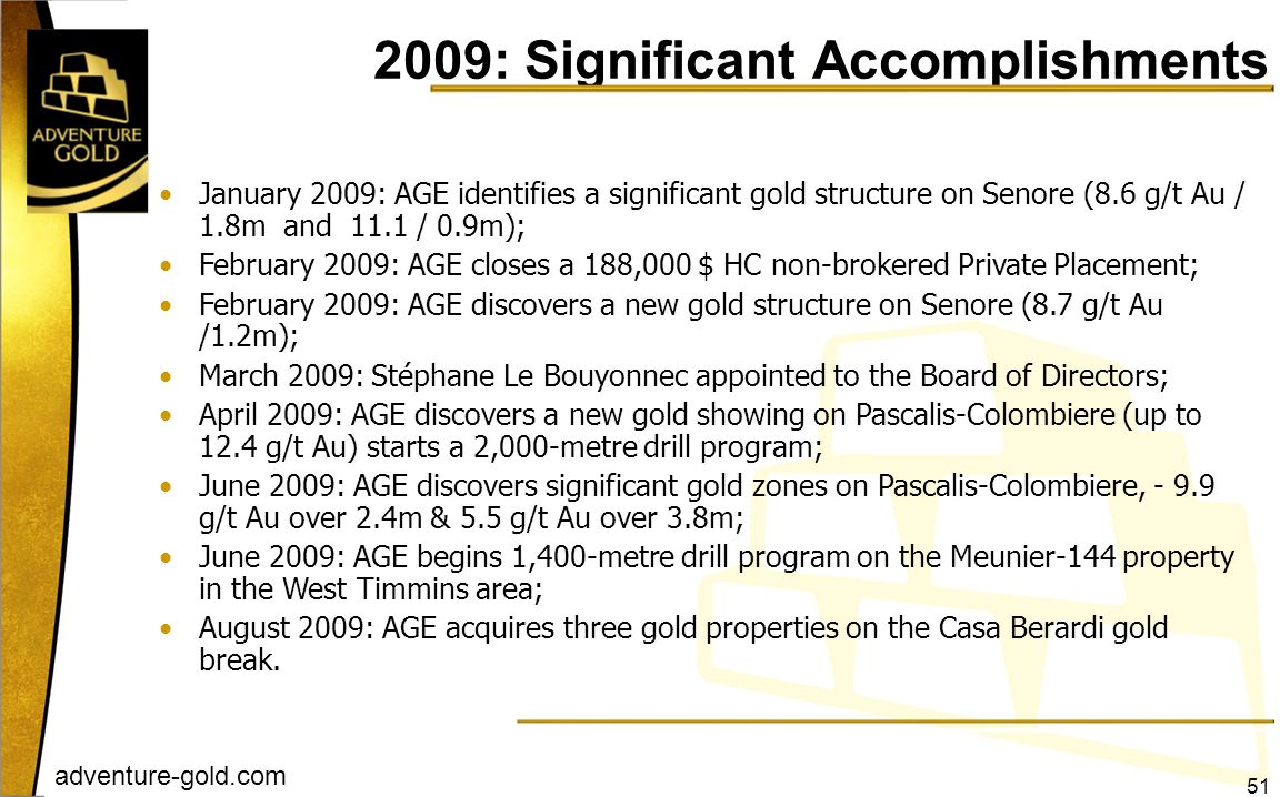 2009: Significant Accomplishments