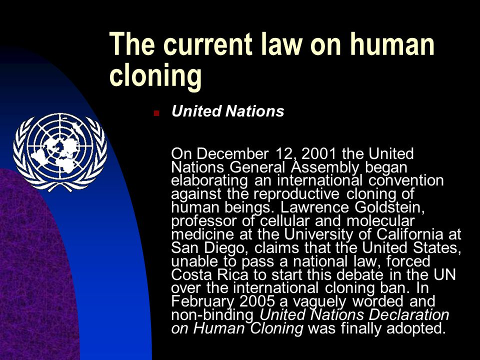 The current law on human cloning