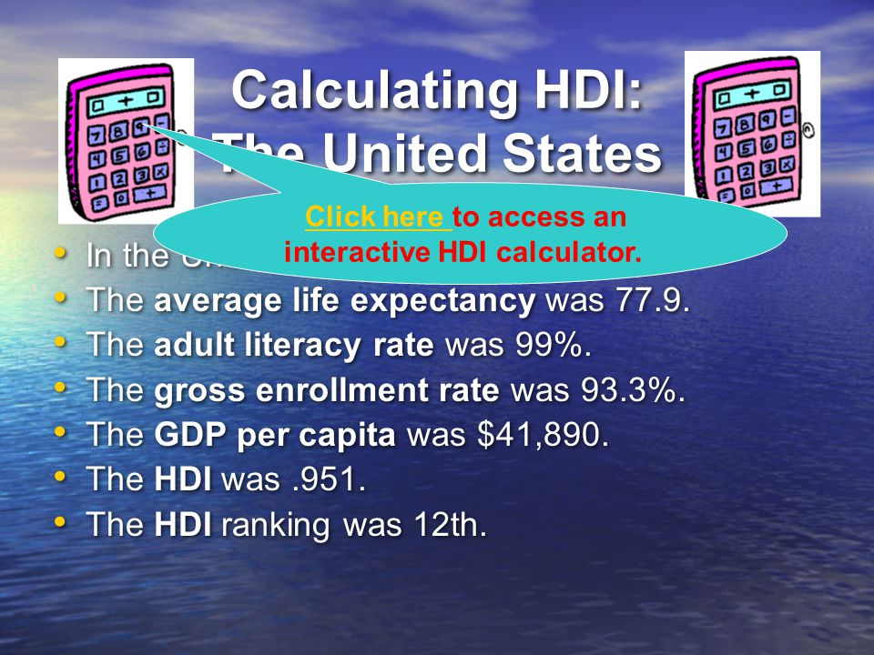 Calculating HDI: The United States