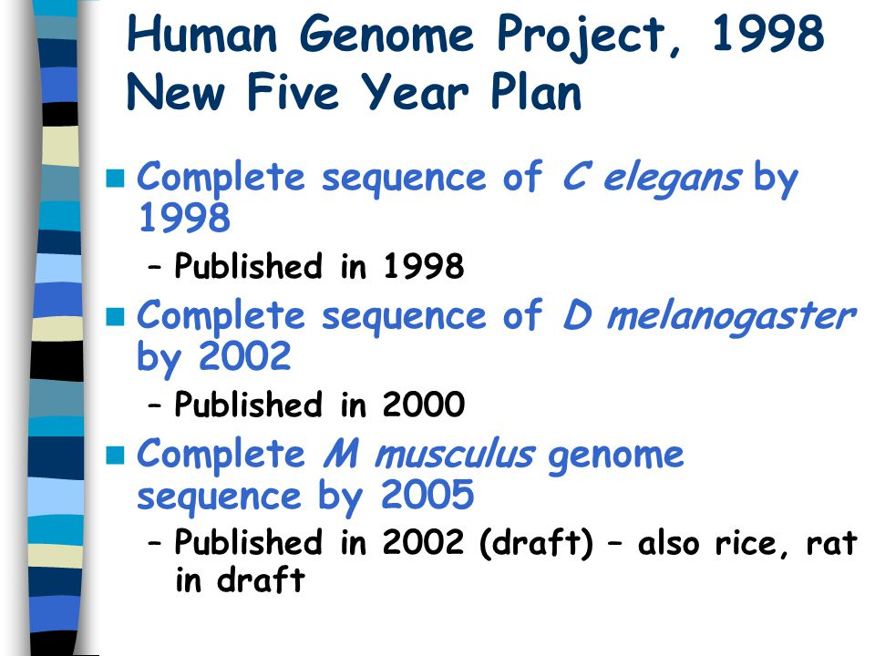 Human Genome Project, 1998 New Five Year Plan