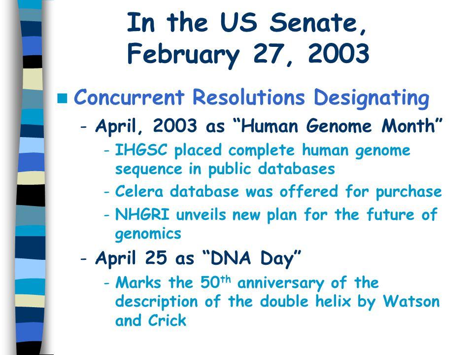 In the US Senate, February 27, 2003