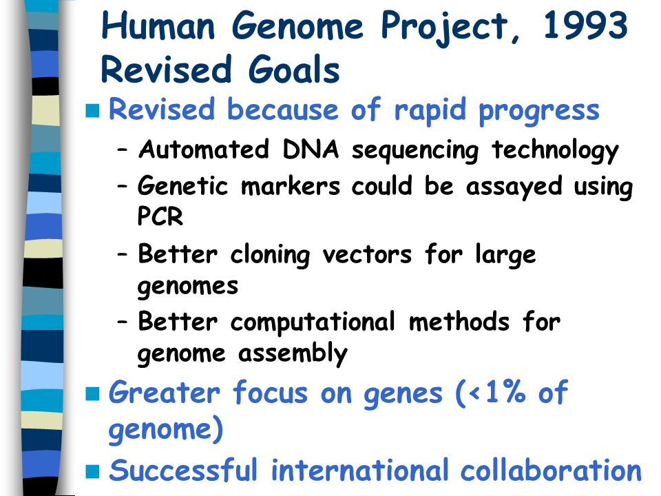 Human Genome Project, 1993 Revised Goals