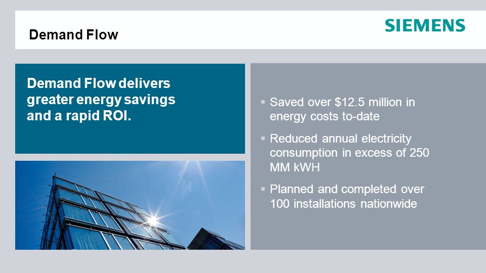 Demand Flow delivers greater energy savings and a rapid ROI.