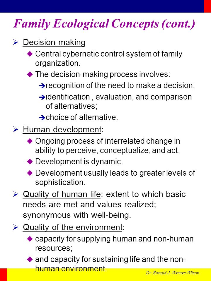 Family Ecological Concepts (cont.)