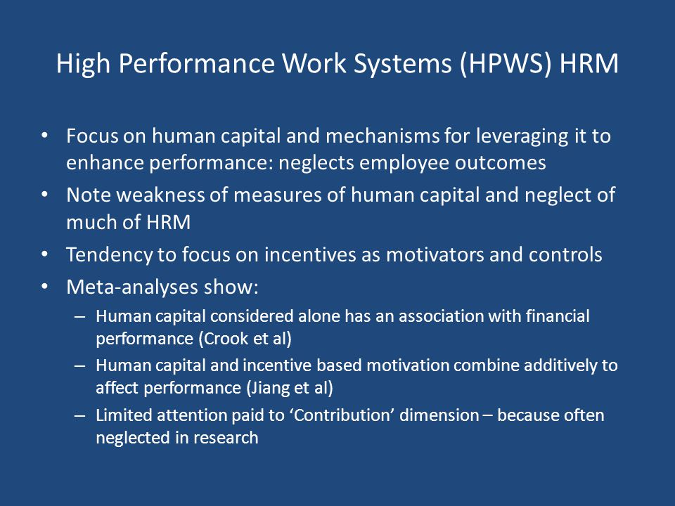High Performance Work Systems (HPWS) HRM