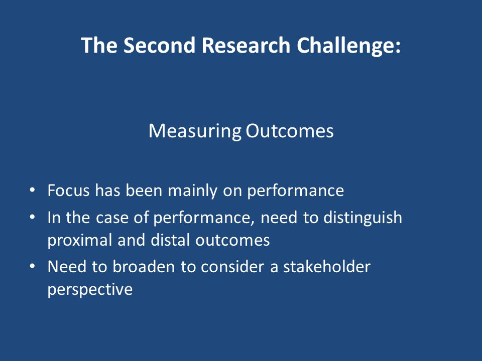 The Second Research Challenge: