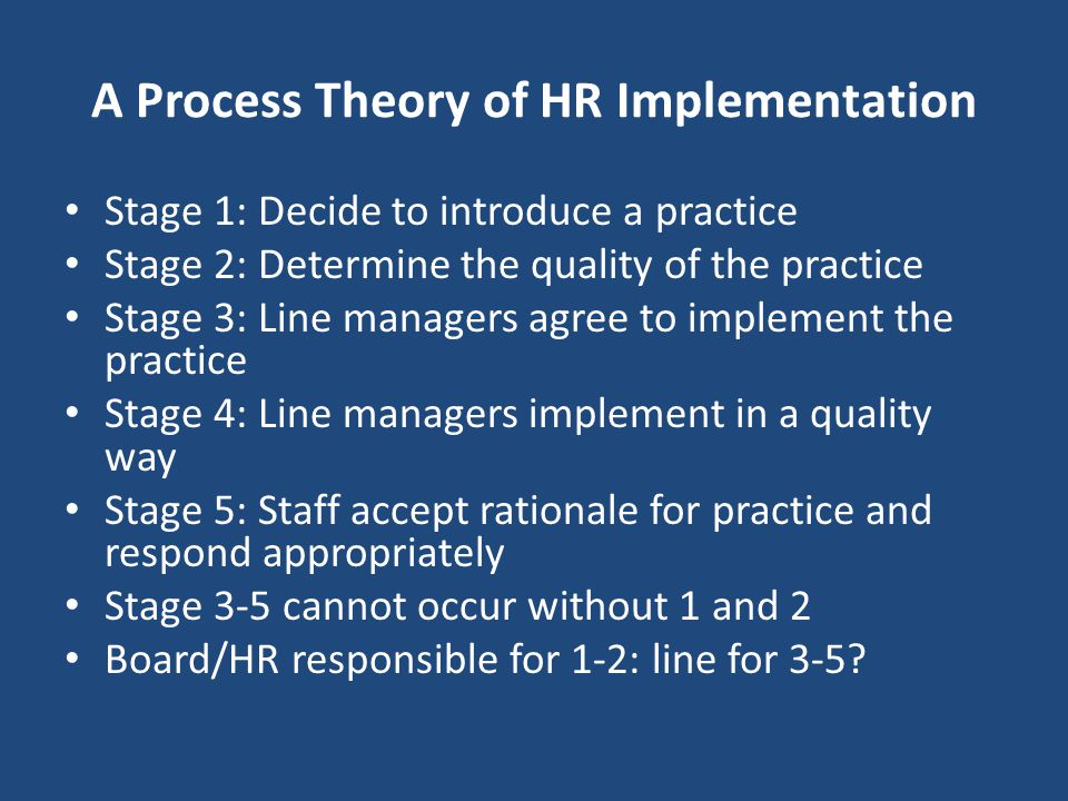 A Process Theory of HR Implementation